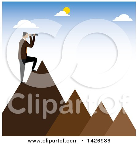 Clipart of a Corporate Business Man Standing on Mountain Peaks and Looking out Through a Telescope - Royalty Free Vector Illustration by ColorMagic