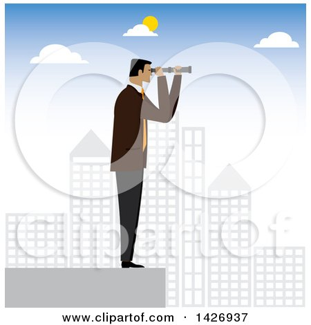 Clipart of a Corporate Business Man Standing on Top of a Skycraper and Looking out Through a Telescope - Royalty Free Vector Illustration by ColorMagic
