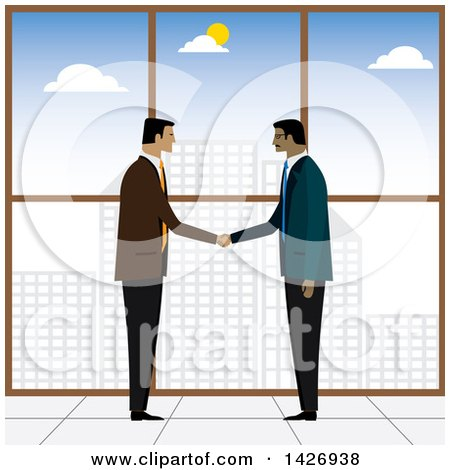 Clipart of Corporate Business Men Shaking Hands Against a Window Overlooking a City - Royalty Free Vector Illustration by ColorMagic