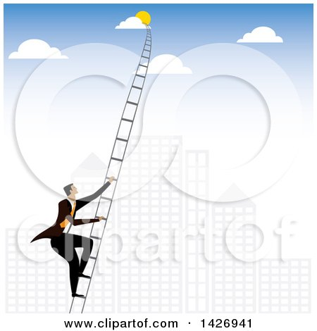 Clipart of a Corporate Business Man Climbing a Ladder into the Sky Against a City - Royalty Free Vector Illustration by ColorMagic