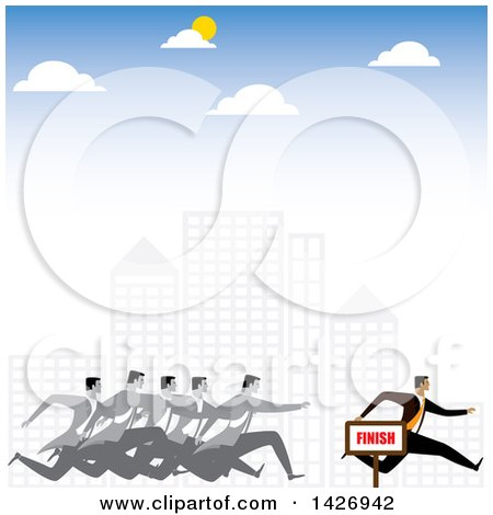 Clipart of a Corporate Business Man Racing Competitors Through a City - Royalty Free Vector Illustration by ColorMagic