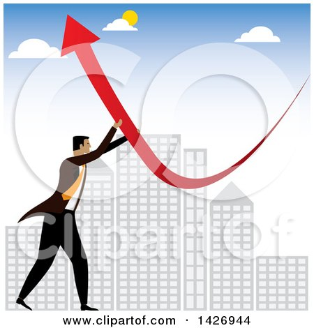 Clipart of a Corporate Business Man Pushing a Red Arrow Upwards over City Skycrapers - Royalty Free Vector Illustration by ColorMagic