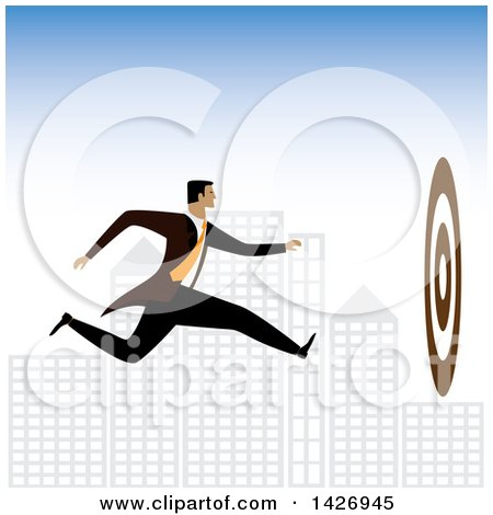 Clipart of a Corporate Business Man Running Towards a Bullseye Against a City - Royalty Free Vector Illustration by ColorMagic
