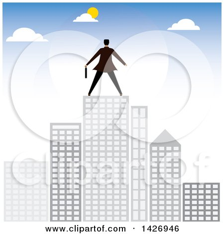 Clipart of a Rear View of a Corporate Business Man Atop City Skyscrapers - Royalty Free Vector Illustration by ColorMagic