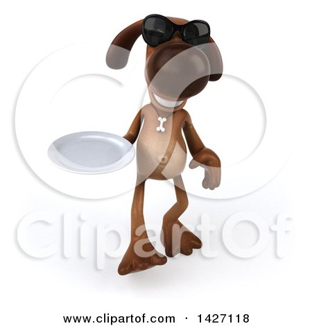 Clipart of a 3d Brown Chocolate Lab Dog, on a White Background - Royalty Free Vector Illustration by Julos