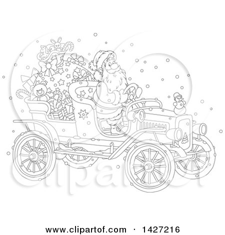 Clipart of a Cartoon Black and White Lineart Christmas Santa Claus Driving a Vintage Covertible Car - Royalty Free Vector Illustration by Alex Bannykh