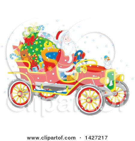 Clipart of a Christmas Santa Driving a Vintage Covertible Car - Royalty Free Vector Illustration by Alex Bannykh