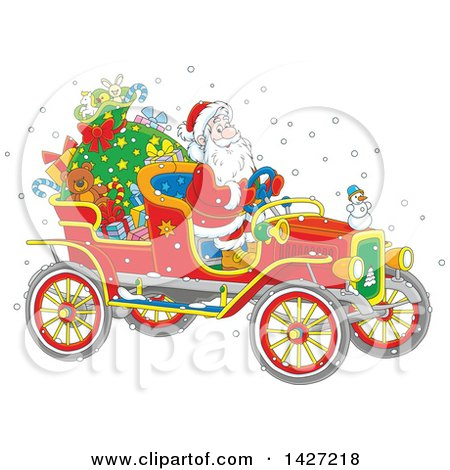 Clipart of a Cartoon Christmas Santa Claus Driving a Vintage Covertible Car - Royalty Free Vector Illustration by Alex Bannykh