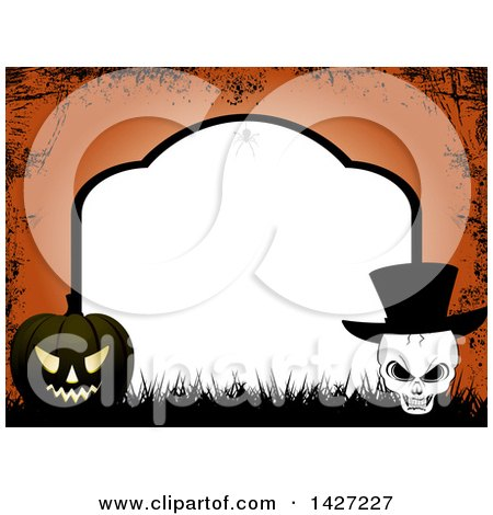 Clipart of a Tombstone Halloween Party Invitation Border Frame with a Spider, Black Jackolantern Pumpkin and Skull Wearing a Top Hat over Orange Grunge - Royalty Free Vector Illustration by elaineitalia
