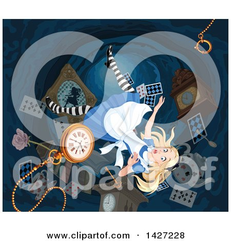Clipart of Alice Falling down the Rabbit Hole to Wonderland - Royalty Free Vector Illustration by Pushkin