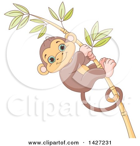 Clipart of a Cute Adorable Baby Monkey Clinging to a Bamboo Stalk - Royalty Free Vector Illustration by Pushkin