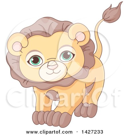 Clipart of a Cute Adorable Male Lion with Green Eyes - Royalty Free Vector Illustration by Pushkin