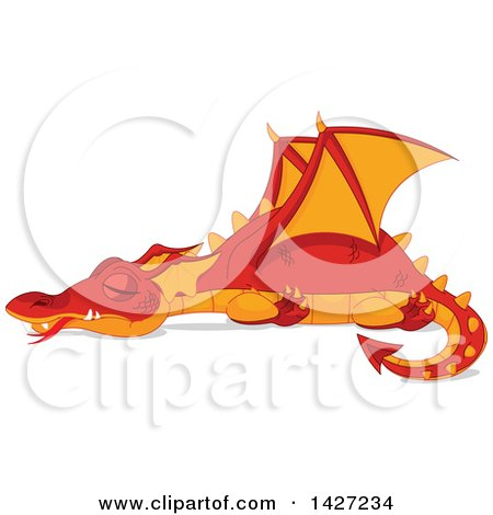 Clipart of a Red and Orange Dragon Sleeping - Royalty Free Vector Illustration by Pushkin