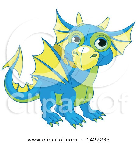 Clipart of a Cute Blue Green and Yellow Baby Dragon - Royalty Free Vector Illustration by Pushkin