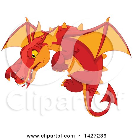 Clipart of a Red and Orange Dragon Flying - Royalty Free Vector Illustration by Pushkin