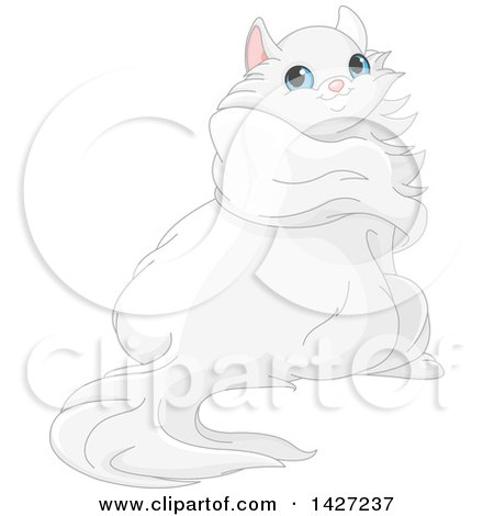 Clipart of a Cute Adorable Fluffy Blue Eyed, Long Haired White Cat Looking Back - Royalty Free Vector Illustration by Pushkin