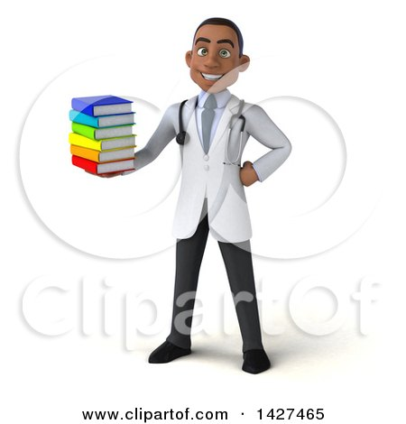 Clipart of a 3d Young Black Male Doctor, on a White Background - Royalty Free Illustration by Julos