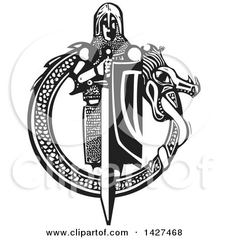 Clipart of a Black and White Woodcut Medieval Knight with a Sword and Shield Inside a Dragon Circle - Royalty Free Vector Illustration by xunantunich