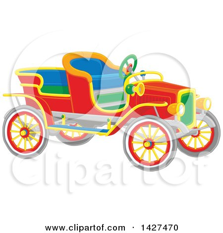Clipart of a Colorful Vintage Antique Convertible Car - Royalty Free Vector Illustration by Alex Bannykh