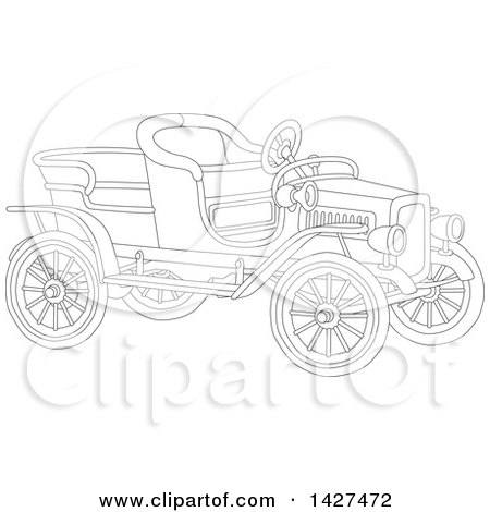 Clipart of a Cartoon Black and White Vintage Antique Convertible Car - Royalty Free Vector Illustration by Alex Bannykh