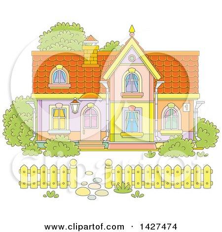 Clipart of a Cartoon Two Storey Home - Royalty Free Vector Illustration by Alex Bannykh