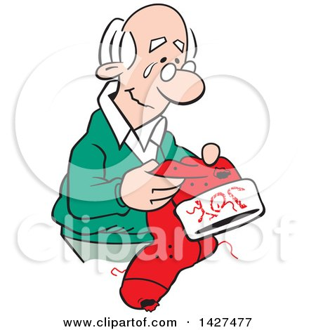 Clipart of a Cartoon Nostalgic Old Caucasian Man Holding a Christmas Stocking and Thinking of Happy Memories - Royalty Free Vector Illustration by Johnny Sajem