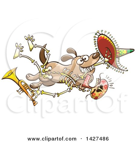 Clipart of a Cartoon Dog Stealing a Mexican Day of the Dead Skeleton Holding a Trumpet - Royalty Free Vector Illustration by Zooco