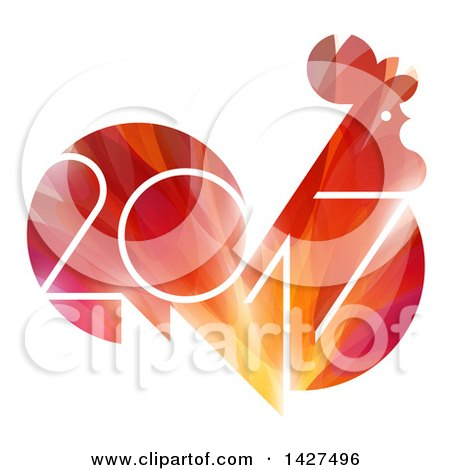 Clipart of a 2017 Year of the Rooster Chinese Zodiac Design in Red and Orange - Royalty Free Vector Illustration by elena