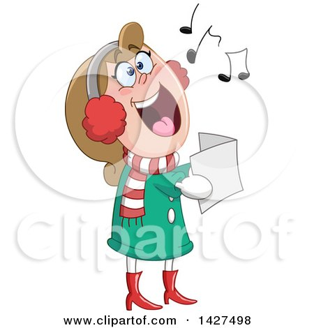 Clipart Of A Cartoon Festive Caucasian Woman Singing Christmas Carols Royalty Free Vector Illustration