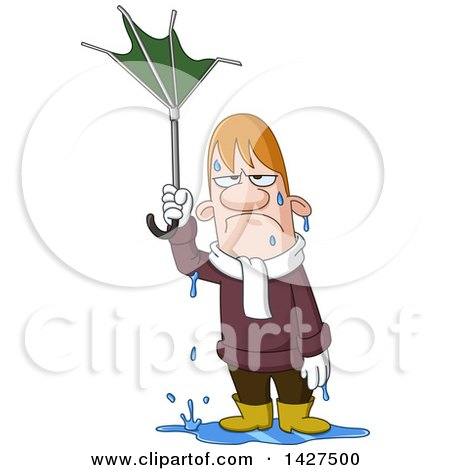 Clipart of a Cartoon Soaking Wet Man Holding a Broken Umbrella in the Rain - Royalty Free Vector Illustration by yayayoyo