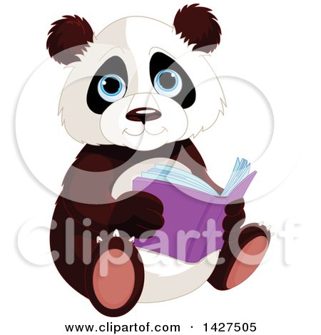 Clipart of a Cute Adorable Baby Panda Sitting and Reading a Book - Royalty Free Vector Illustration by Pushkin