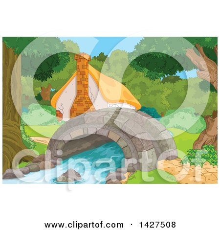 Clipart of a Cute Cottage in the Woods, Next to a Creek with a Foot Bridge - Royalty Free Vector Illustration by Pushkin