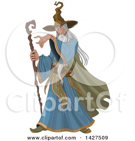 Clipart of a Long Haired Old Male Wizard Holding a Staff and Pointing - Royalty Free Vector Illustration by Pushkin