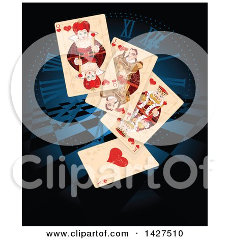 Clipart of a Wonderland Queen of Hearts and Other Playing Cards over a Clock Face and Checkers - Royalty Free Vector Illustration by Pushkin