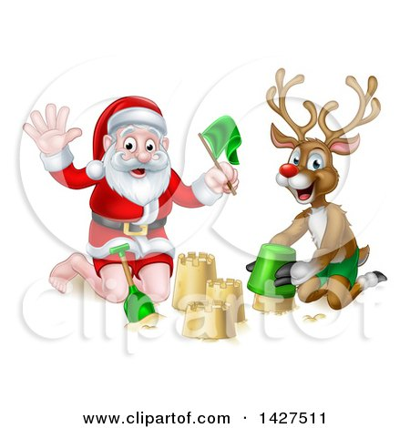 Clipart of a Happy Rudolph Red Nosed Reindeer and Santa Making a Sand Castle - Royalty Free Vector Illustration by AtStockIllustration