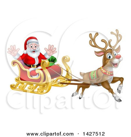 Royalty Free Santas Sleigh Illustrations by AtStockIllustration Page 1