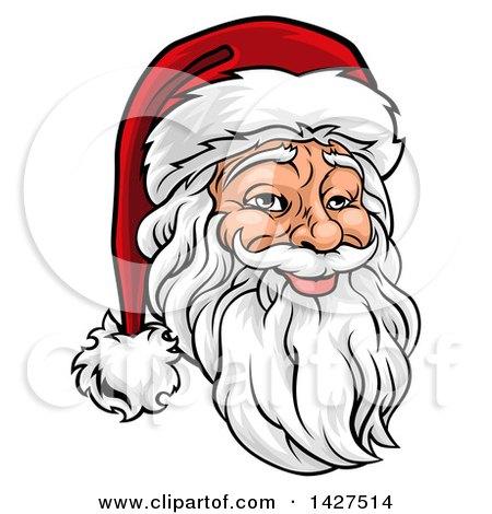 Clipart Of A Cartoon Happy Christmas Santa Claus Pointing