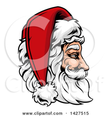 Clipart of a Cartoon Profiled Jolly Santa Claus Face in a Christmas Hat - Royalty Free Vector Illustration by AtStockIllustration