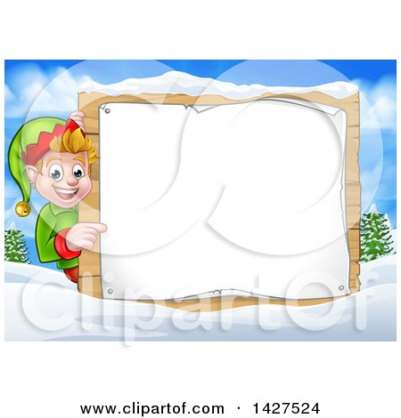 Clipart of a Happy Caucasian Male Christmas Elf Pointing Aorund a Blank Sign in a Winter Landscape - Royalty Free Vector Illustration by AtStockIllustration