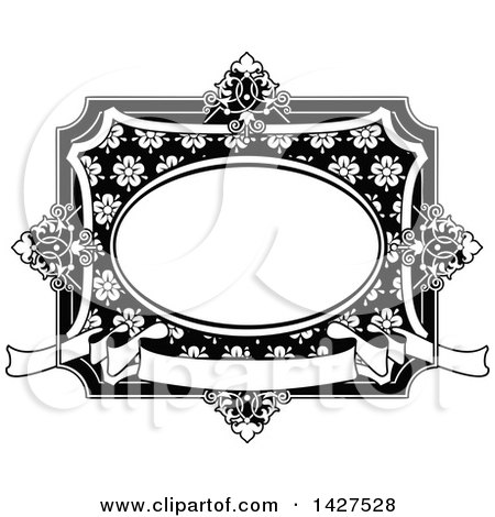 Clipart of a Black and White Ornate Vintage Floral Frame - Royalty Free Vector Illustration by AtStockIllustration