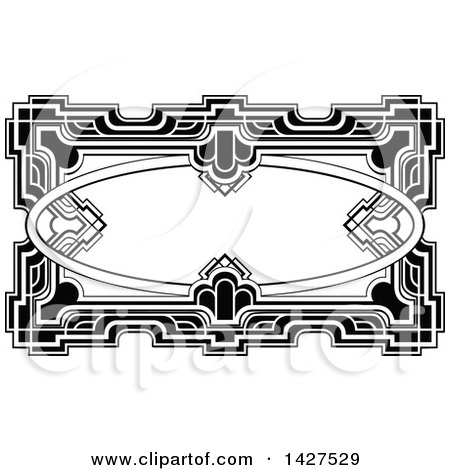 Clipart of a Black and White Ornate Vintage Art Deco Frame - Royalty Free Vector Illustration by AtStockIllustration
