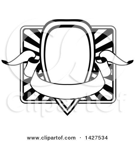 Clipart of a Black and White Ornate Vintage Frame with a Banner - Royalty Free Vector Illustration by AtStockIllustration