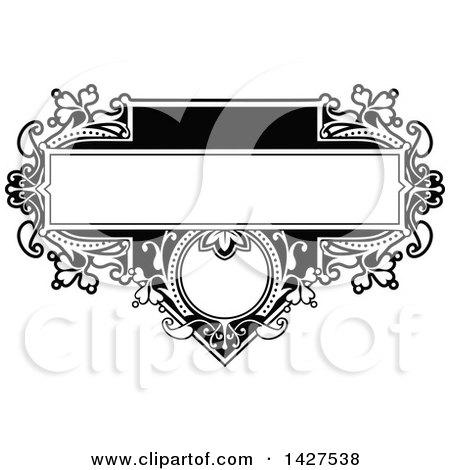 Clipart of a Black and White Ornate Vintage Floral Frame - Royalty Free Vector Illustration by AtStockIllustration