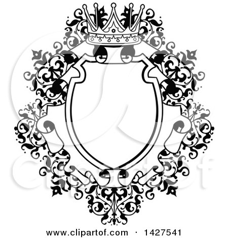 Clipart of a Black and White Ornate Vintage Floral Frame with a Crown - Royalty Free Vector Illustration by AtStockIllustration
