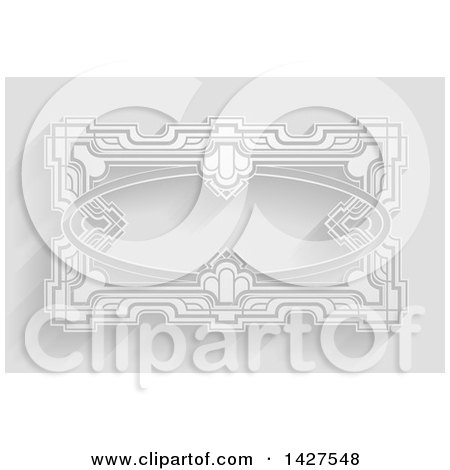 Clipart of a White Ornate Vintage Art Deco Frame on Gray with Shadows - Royalty Free Vector Illustration by AtStockIllustration