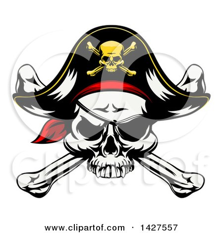 Clipart of a Cartoon Pirate Skull and Crossbones Wearing an Eye Patch and Captain Hat - Royalty Free Vector Illustration by AtStockIllustration