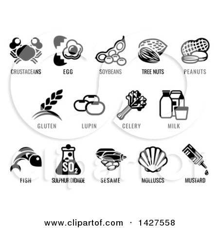 Clipart of Black and White Icons of the 8 FDA Major Allergens - Royalty Free Vector Illustration by AtStockIllustration