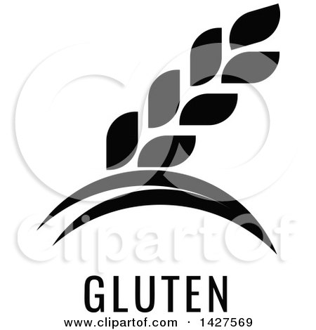 Clipart of a Black and White Food Allergen Icon of Wheat over Gluten Text - Royalty Free Vector Illustration by AtStockIllustration