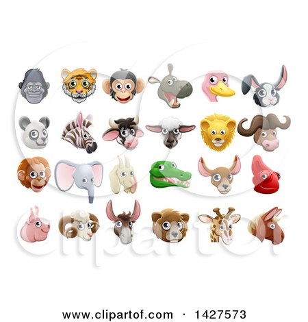 Clipart of Happy Animal Face Avatars - Royalty Free Vector Illustration by AtStockIllustration