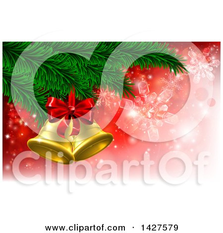 Clipart of 3d Gold Christmas Bells with a Bow on Tree Branches, over Red with Snowflakes - Royalty Free Vector Illustration by AtStockIllustration